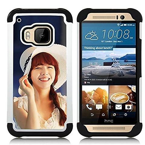 Hypernova Ibrido Heavy Duty Armatura antiurto Cover silicone cassa caso robusto Per HTC One M9 /M9s / One Hima [Carino Koeran Ragazza Asiatica]