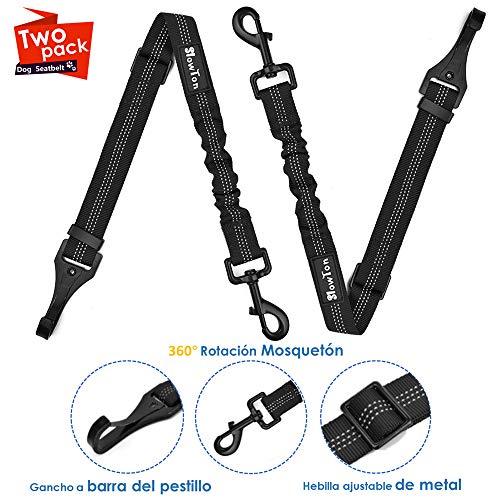 SlowTon Cinturón de Seguridad de Coche, 2 Pack Accesorio de la Barra de Cierre Hebilla de Metal Cinturón de Seguridad de Coche Arnés del Cinturón Ajustable para Perros
