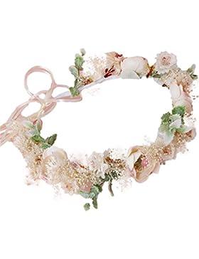 YAZILIND Dama de honor flor corona tocado boda nupcial rosa corona floral diadema guirnalda con cinta
