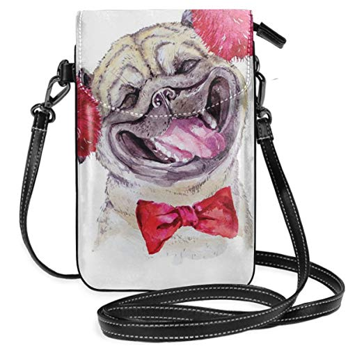 Women Small Cell Phone Purse Crossbody,Watercolor Drawing Of Dog With Furry Winter Headphones And A Bow Tie Happy Cute Animal -