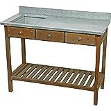habeig Gartentisch Pflanztisch Landhaus Tisch Spüle Echtholz Beistelltisch Arbeitstisch 100 x 84 x 44 cm
