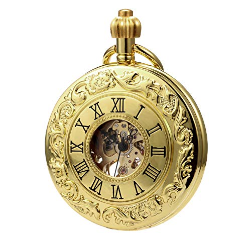 MORFONG Herren Damen Taschenuhr mit Kette Gold Antik Mechanische Handaufzug Skelett