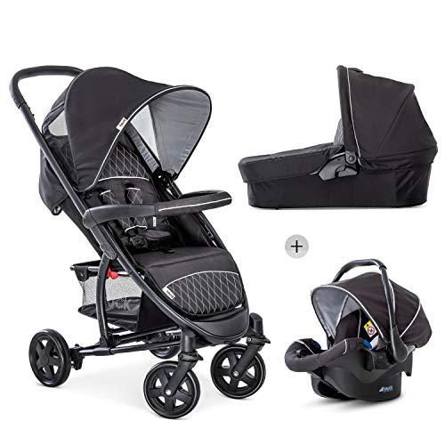 Hauck Malibu 4 Trio Set 3in1 Kombi Kinderwagen bis 18 kg + Babyliegeschale Gruppe 0 + Babywanne mit Matratze, Sportwagen mit Liegeposition ab Geburt, leicht, klein faltbar, schwarz silber