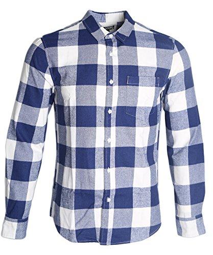 SOOPO Herren Ärmellose Kariert Flanell Hemden Freizeithemd aus Baumwolle Sleeveless T-Shirt (XL, A-Marine blau) (Classic Kleidersack)