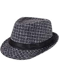 AIEOE - Sombrero Hombre Boda Panamá Jazz con Ala Ancha Gorro de Copa  Disfraz Trilby Hat 2456bd13565