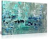 Mint Wandbild, graue abstrakte Leinwand Kunstdruck Bild, grau, A2 61x41 cm (24x16in)