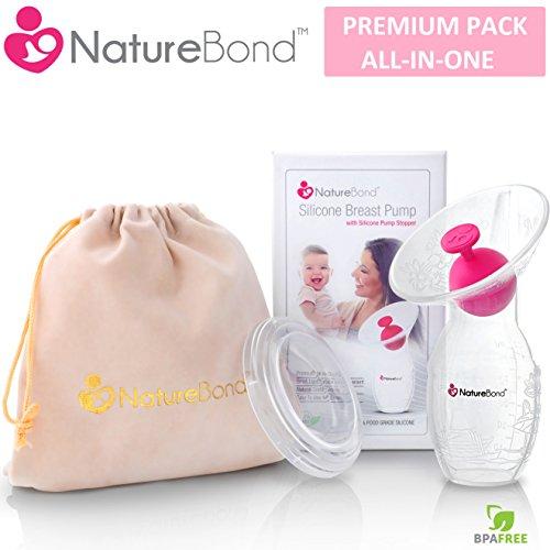 NatureBond Silikon Stillen Manuelle Brustpumpe Milch Saver Saug | All-In-1 Deckel, Beutel, luftdicht Vakuum versiegelt. BPA frei