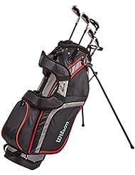 Wilson Anfänger-Halbsatz, 6 Golfschläger mit Standbag, Herren (rechte Hand), Pro Staff HDX, Schwarz/Grau/Rot, WGG130001