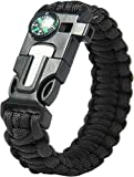 Paracraft Paracord 550 Hiking Camping Bracelet with Compass,Whistle-Black