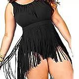 GWELL Damen Plus Size Quast Hohe Taille Push-up-BH Monokini Badeanzug Badebekleidung XL-5XL