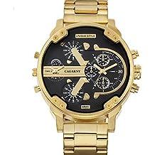 HWCOO Relojes WEIDE Hombre Reloj Casual Japonés Cuarzo / Acero Inoxidable Banda Casual Dorado ( Color : Black )