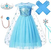 VanStar Snow Queen Costumes,Dress Girls Party Cosplay Girl Clothing Snow Queen Birthday Princess Dress Kids Costume Blue Costume With Accessory Set (110/3-4T)