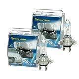 ECD Germany 4er Pack Halogen Lampe H7 12V 55W 8500K mit E-Prüfzeichen 50% Mehr Licht Xenon Optik Glühbirne Glühlampe Scheinwerferlampe Autolampe