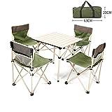 Rziioo Klappbarer Campingtisch aus Aluminium mit 4 Stühlen und Tragetasche Für Picknick Im Innen- und Außenbereich,A