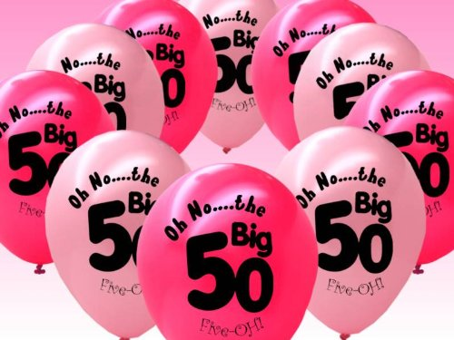 10 Fuschia And Pink 50th Birthday Party Balloons