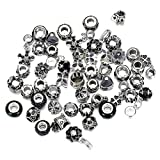 Weanty Lot de 50 Kits de Fabrication de Bracelets à Breloques européens en Alliage de Laiton et Strass avec Grand Trou pour Bracelet à Breloques, Alliage, Noir, Taille Unique
