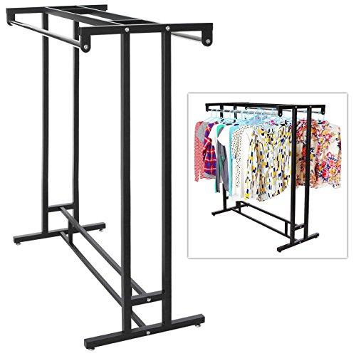 Acciaio inossidabile doppio Rod hangrail Department Store stile per indumenti, espositore da pavimento Porta, MyGift