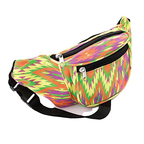 Multi Coloured Bright Abstract 90s Print Fabric Bum Bag. Ideal for festivals.