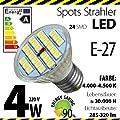 ALMIPEX E27 LED Lampe 4W (320lm - 4500 K - Weiß - 24 x 5050 SMD LED - 120º Abstrahlwinkel - E27 Sockel - 230V AC - 4 Watt - Ø 50×54 mm)