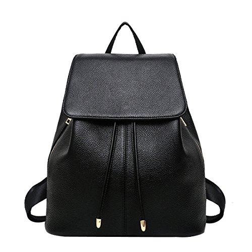 Einfache Art Und Weise Beiläufiger PU-Rucksack Der Schulterbeutel Der Frauen Black