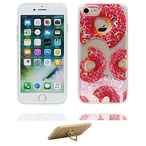 """iPhone 7 Coque, Skin Hard Clear étui iPhone 7, Design Glitter Bling Sparkles Shinny Flowing Apple iPhone 7 Case Cover 4.7"""", résistant aux chocs et ring Support (Lis Lily) # 4"""