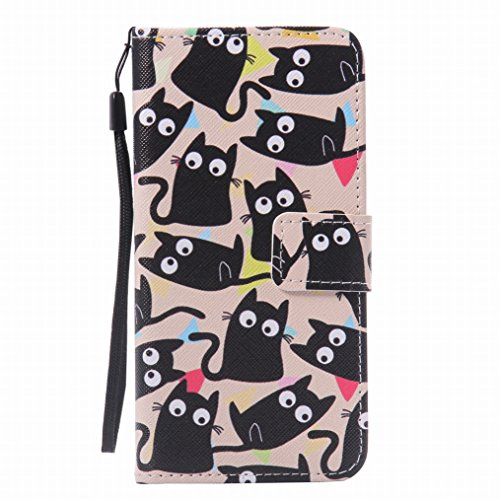 LEMORRY Huawei P9 Etui Gaufré Cuir Portefeuille Pochette Protecteur Magnétique Fermeture Fente Carte Silicone TPU Housse Cover Coque pour Huawei P9, Cartoon Cat