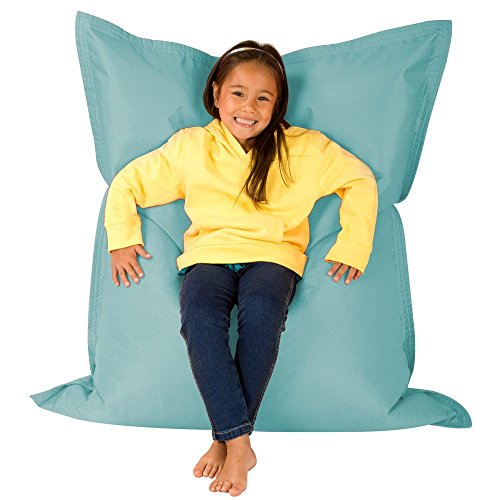 Hi-BagZ Kids Extra Large Beanbag 4-Way Lounger - 120cm x 100cm, Duck Egg Blue - Giant Childrens Bean Bag for Indoor Outdoor Use - Water Resistant, Weather Proof Garden Floor Cushion Bean Bags