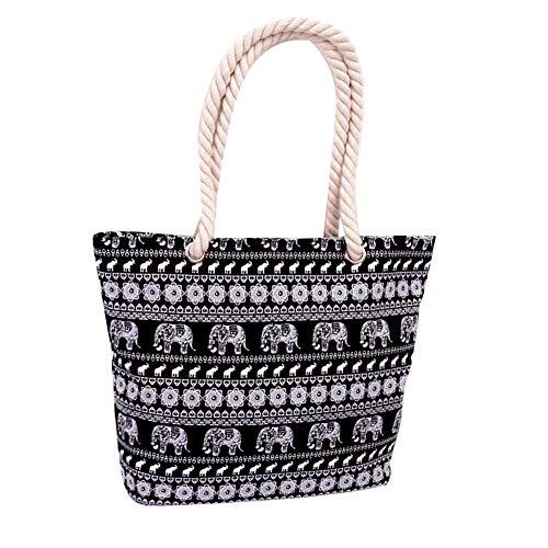 AchidistviQ Damen Schultertasche/Einkaufstasche, Motiv exotischer Elefant, gedrehtes Seil Multi