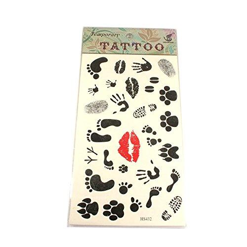 Tattoo mit verschieden Motiven Lippen, Pfoten, Hände Füße
