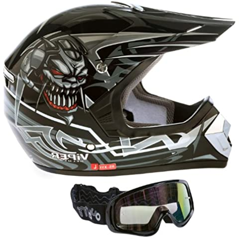 Viper RS-X11 niños cascos de motos Enduro Negro S (gafas Negro)