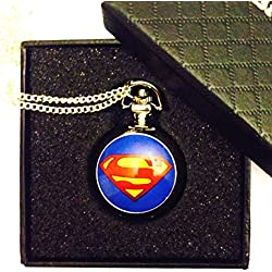 Superman Logo Pocket Watch Necklace - Silver Plated Chain - GIFT BOXED WITH FREE SPARE BATTERY