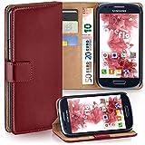 moex Samsung Galaxy S3 Mini | Hülle Dunkel-Rot mit Karten-Fach 360° Book Klapp-Hülle Handytasche Kunst-Leder Handyhülle für Samsung Galaxy S3 Mini S III Case Flip Cover Schutzhülle Tasche