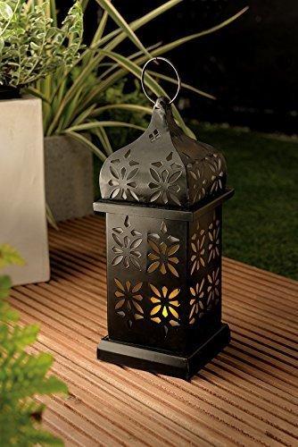 XL LED Solar Leuchte Garten Solar Laterne Metall pulverbeschichtet - Große Designer Solarlaterne mit flackernder LED und Lichtsensor - aus hochwertigem pulverbeschichtetem Metall hergestellt - tolle Solarleuchte in filigraner Verarbeitung -