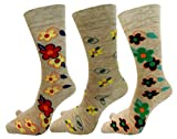 RC. ROYAL CLASS Women's Calf Length Floral Pattern Thumb Woollen Socks (ROSE-12, Beige, Free Size) - Pack of 3