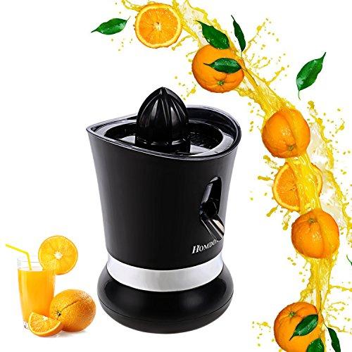 Homdox Zitruspresse Elektrisch Edelstahl Citruspresse Saftpresse Tropf-Stop-Funktion Schwarz 85 Watt für Orangen Grapefruits Limetten Zitronen