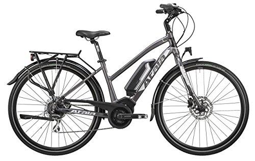 Bicicletta elettrica da trekking e-TKK con pedalata assistita Atala B-TOUR, donna, misura S, 44cm (160cm - 170cm), 8 velocità, colore antracite - nero opaco, kit elettrico Bosch