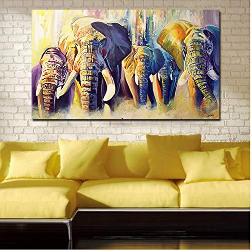 Pintura al óleo decoración para el hogar un grupo de elefantes cuadros...