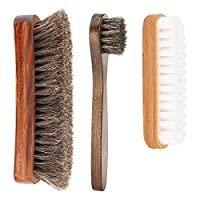 Pack of 3 Shoe Shine Brush Kit with Shoe Dauber, Soft Horsehair Bristles for Shoes, Leather Cloth, Bags