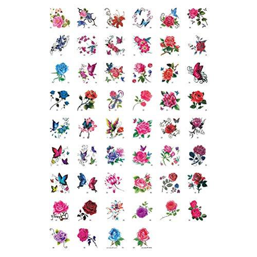 Lurrose 104pcs farfalla rosa adesivi tatuaggio impermeabile tatuaggi colorati adesivi per il corpo del tatuaggio per le ragazze