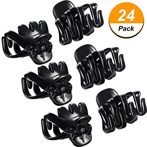 24 Packung 3 cm Mini Grip Octopus Clip Spinne Kiefer Haar Klaue Clips (Schwarz)