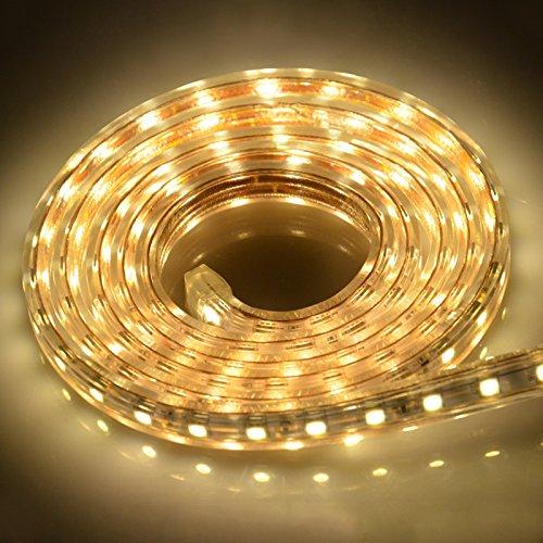 IDEALEBEN LED Streifen Lichtband 5050 LED Strip Leiste, 2M ,Warmweiß, IP65 [Energieklasse A+] -