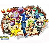 JUNMAONO 3D Pokemon Go Sticker Wandaufkleber/Wandgemälde/Wand Poster/Wandbild Aufkleber/Wandbilder/Wandtattoo/Pinupbild/Beschriftung/Pad einfügen/Tapete/Tapezieren/Tapeten/Wand Zeitung/Wandmalerei/3D-Stereo-Wandaufkleber für Die Hausküche Vertraut (-3)