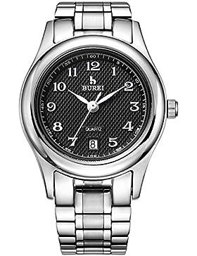 Burei® Damen Quarz Uhr Handgelenk Uhren schwarzes Zifferblatt silber Stahl Armband Zeitloses Einfaches Entwurf...