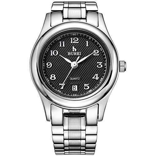 BUREI Damen Quarz Armbanduhr mit schwarzem Zifferblatt Edelstahlband (Schwarz)
