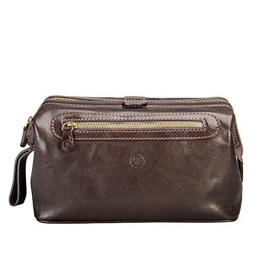Maxwell ScottŸ Luxury Italian Leather Men's Toiletry Bag Large (DunoL), Brown