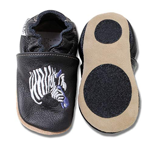 HOBEA-Germany Baby Lauflernschuhe Tiermotiv mit Anti-Rutsch-Sohle, Kinder Hausschuhe mit Tiermotiv: Zebra schwarz, Größe: 24/25 (24-30 Mon)