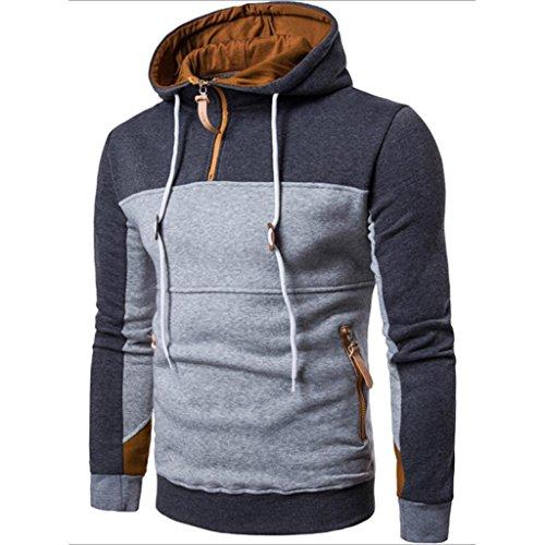Preisvergleich Produktbild Herren Mode Patchwork Langarm Kapuzenpullis, Kaiki Männer Pullover Mantel Stand Kragen Sweater Outwear (M, Deep Gray)
