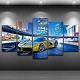Frame HD Arte de pared impreso lienzo panel Imágenes 5 Coche deportivo amarillo edificio carteles pinturas Decoracion Cuadros pintura,30x50 30x70 30x80cm,sin marco