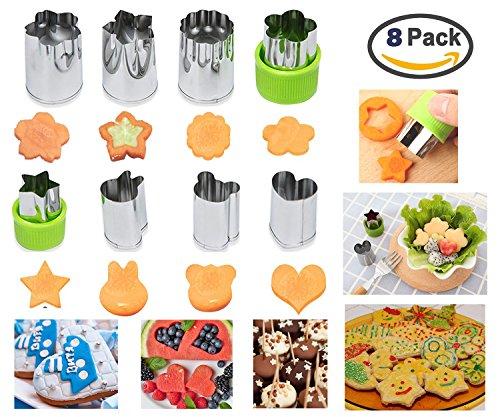 Ausstechformen Gemüse Obst Blumen Cutter,Torten Deko-Edelstahl 304-Multifunktionaler Küchenhelfer für Keks Ausstecher-schneiden Gemüse-Obst und Plätzchen-8 Stück (Stück Blumen-anzug 2)