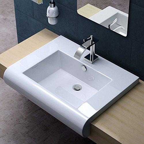 Pofai Durovin Design Square Bathroom Ceramic Counter Top Wash Basin Sink Washing Bowl 713
